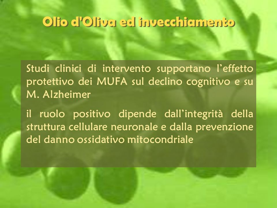 Olio d Oliva ed invecchiamento