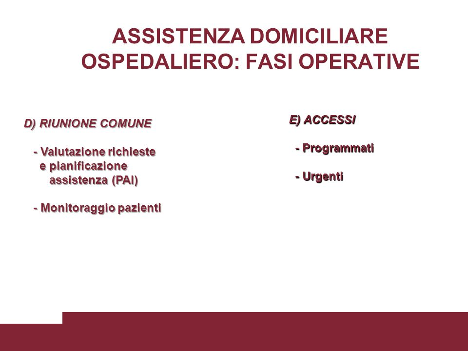 ASSISTENZA DOMICILIARE OSPEDALIERO: FASI OPERATIVE
