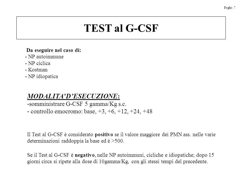 TEST al G-CSF MODALITA' D'ESECUZIONE: