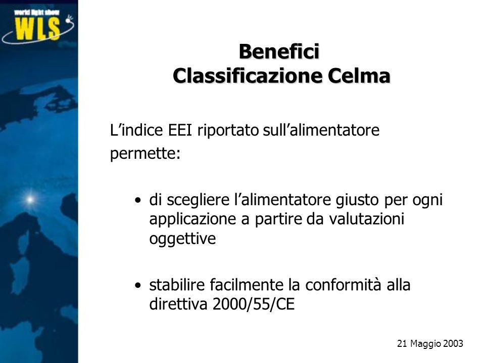 Benefici Classificazione Celma