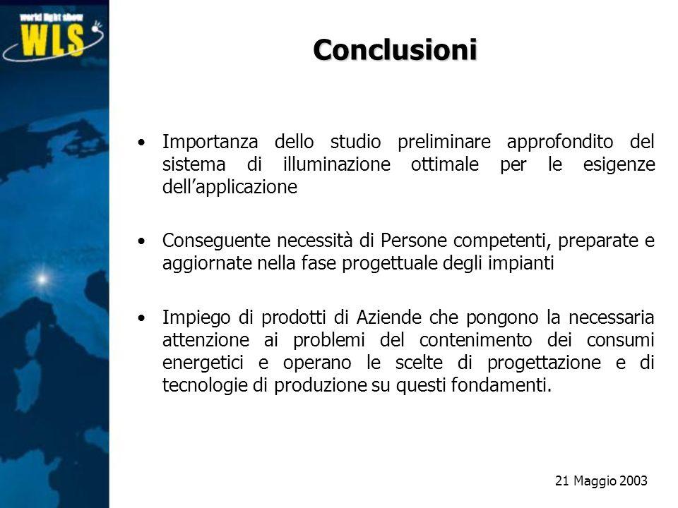 Conclusioni Importanza dello studio preliminare approfondito del sistema di illuminazione ottimale per le esigenze dell'applicazione.