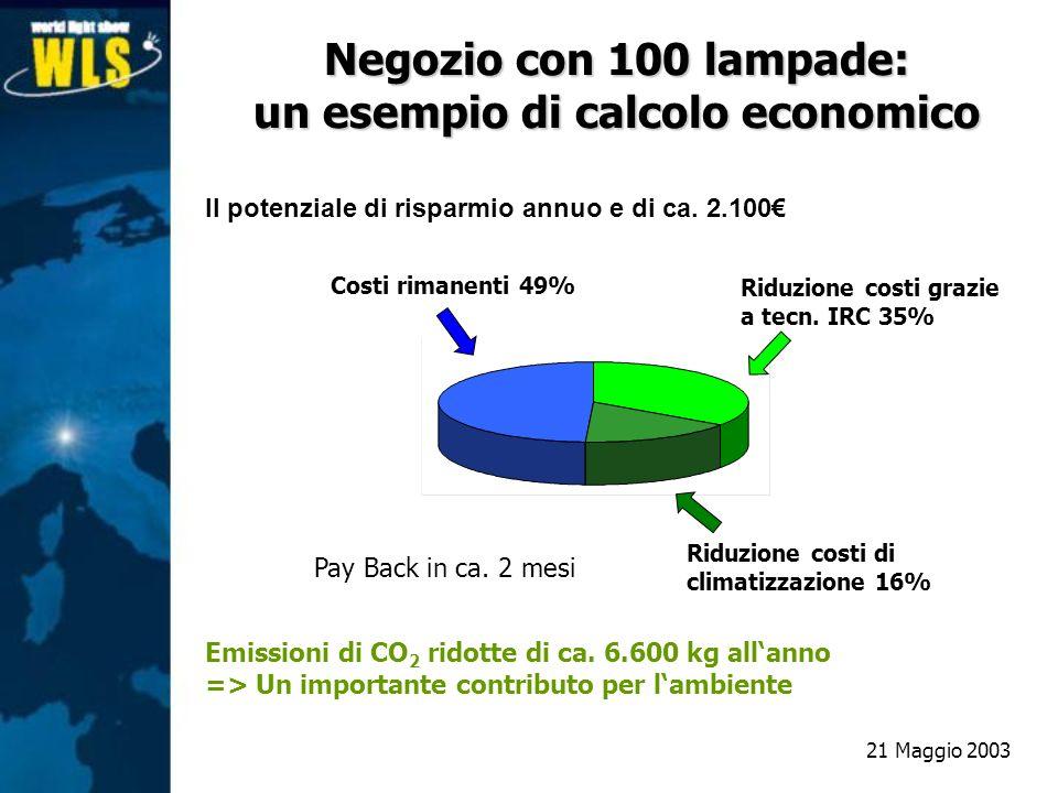 Negozio con 100 lampade: un esempio di calcolo economico