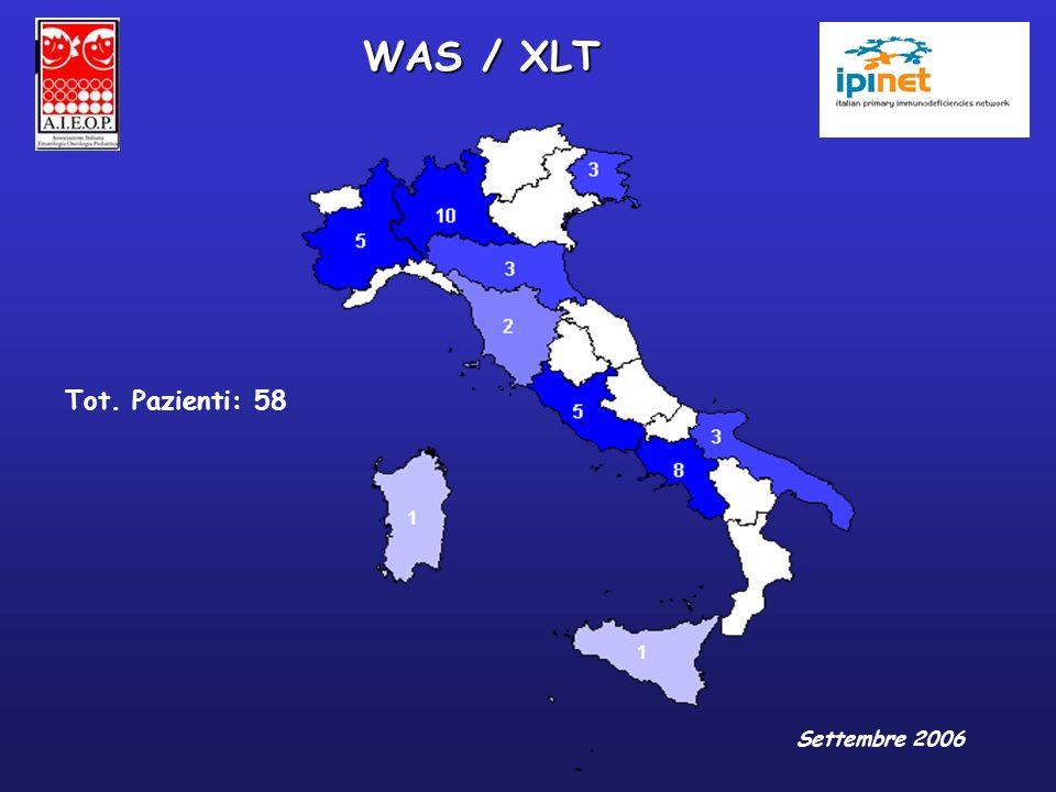 WAS / XLT Tot. Pazienti: 58 Settembre 2006