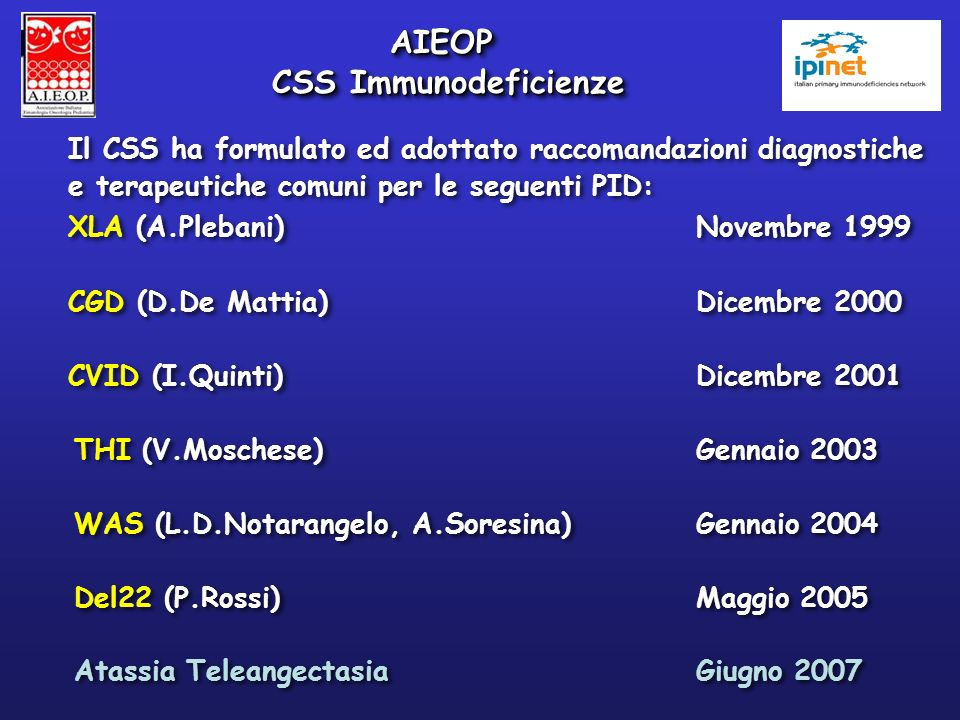 AIEOP CSS Immunodeficienze
