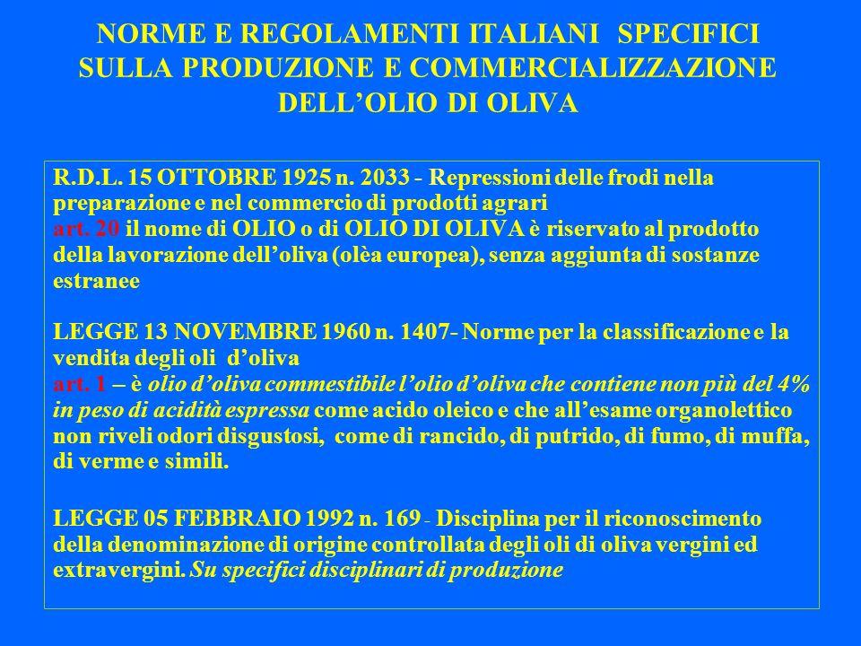 NORME E REGOLAMENTI ITALIANI SPECIFICI SULLA PRODUZIONE E COMMERCIALIZZAZIONE DELL'OLIO DI OLIVA