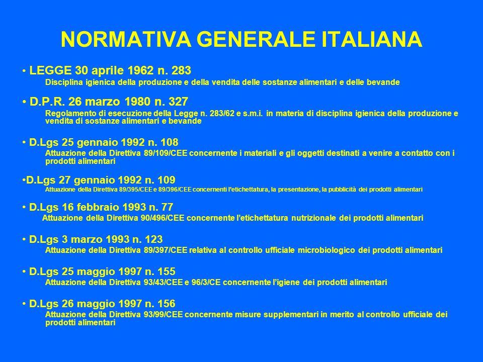 NORMATIVA GENERALE ITALIANA