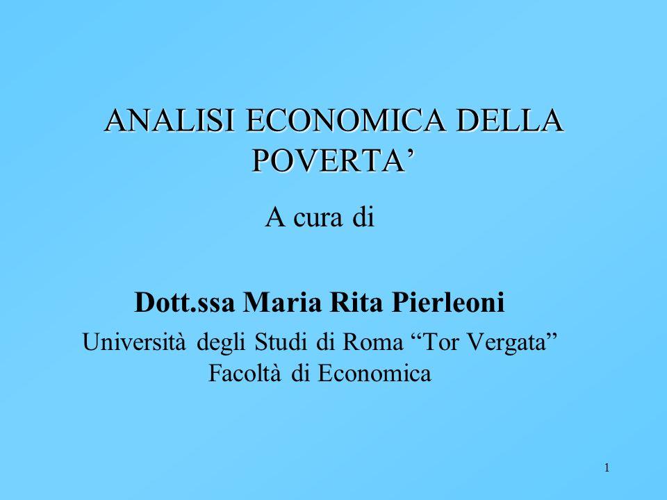 ANALISI ECONOMICA DELLA POVERTA'
