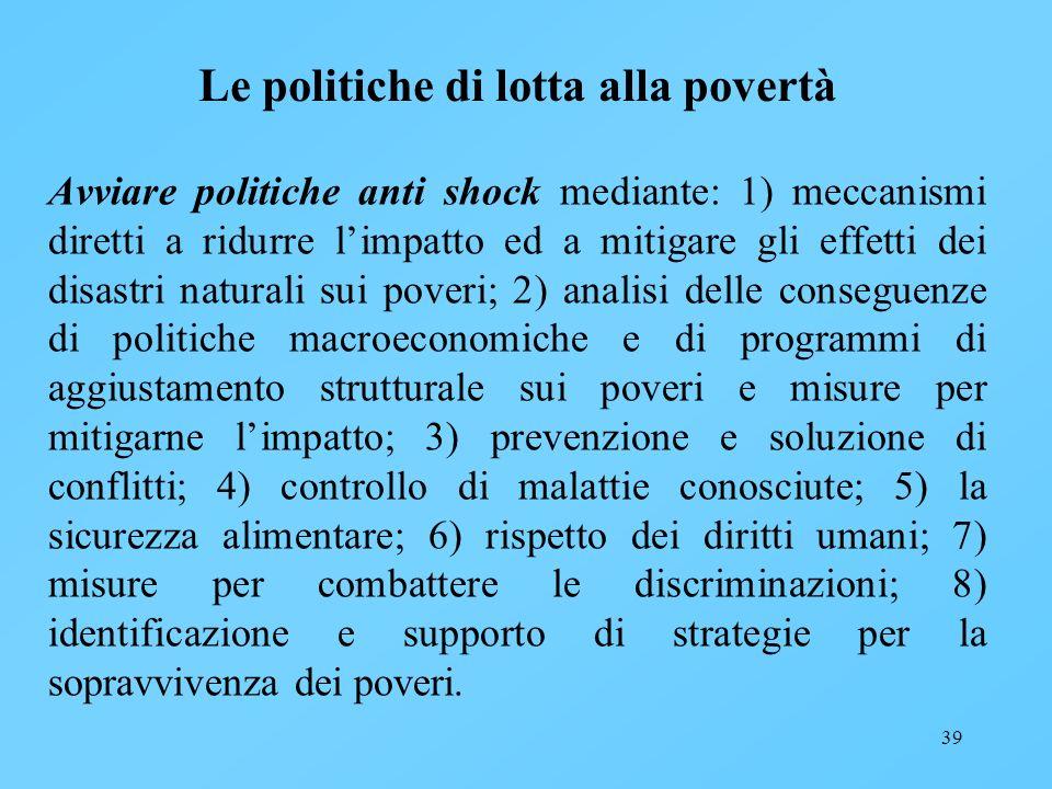 Le politiche di lotta alla povertà