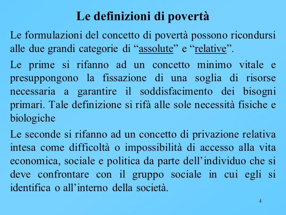 Le definizioni di povertà