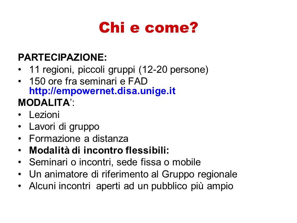 Chi e come PARTECIPAZIONE: 11 regioni, piccoli gruppi (12-20 persone)