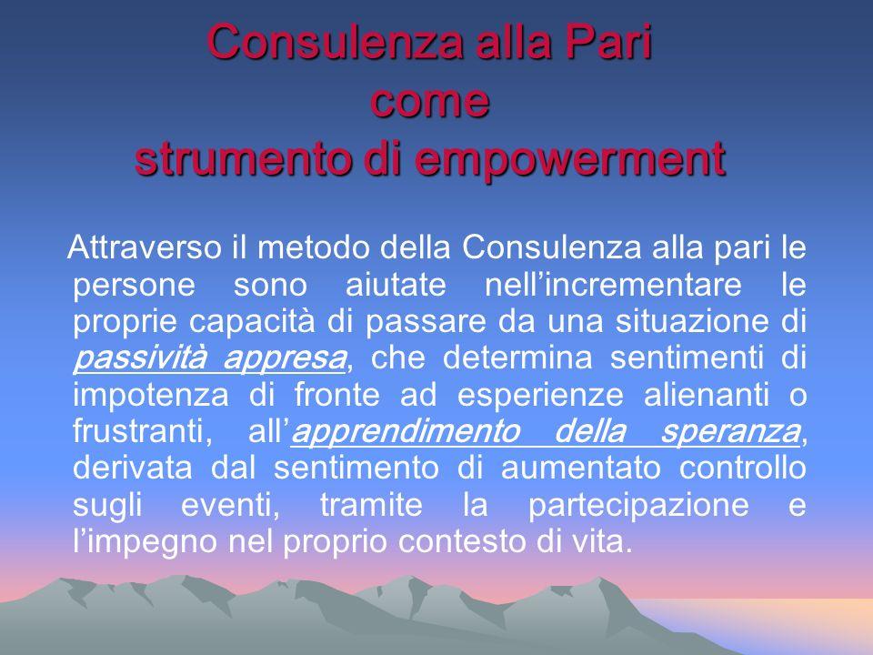 Consulenza alla Pari come strumento di empowerment