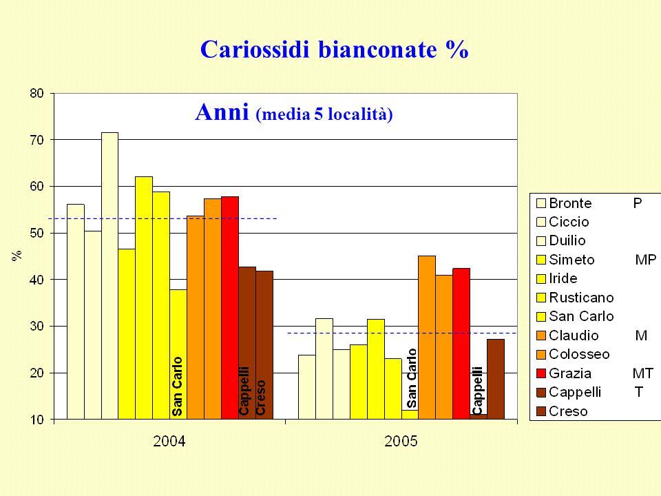 Cariossidi bianconate %
