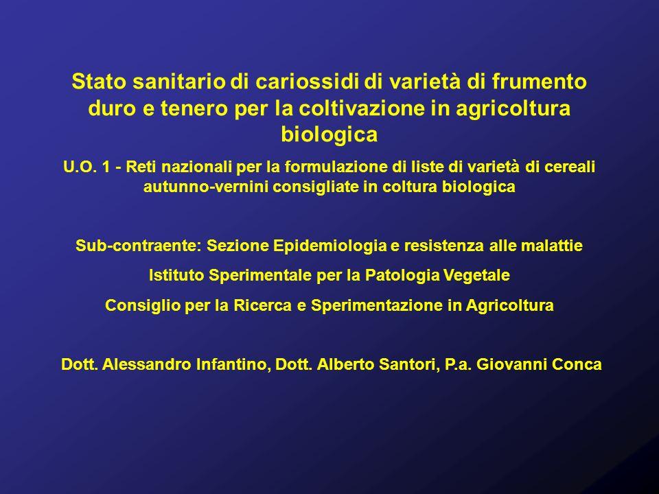 Stato sanitario di cariossidi di varietà di frumento duro e tenero per la coltivazione in agricoltura biologica