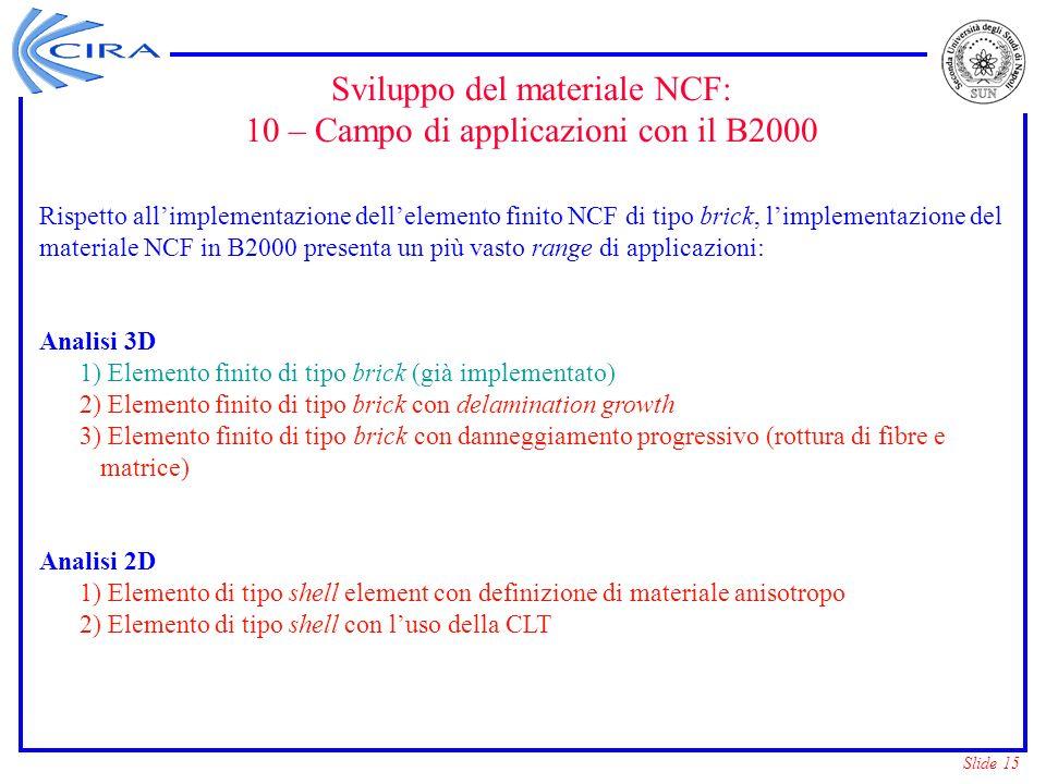Sviluppo del materiale NCF: 10 – Campo di applicazioni con il B2000