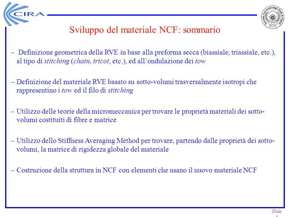 Sviluppo del materiale NCF: sommario