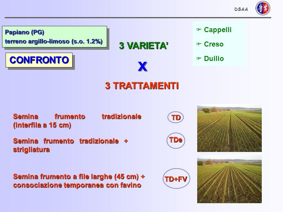 x 3 VARIETA' CONFRONTO 3 TRATTAMENTI Cappelli Creso Duilio