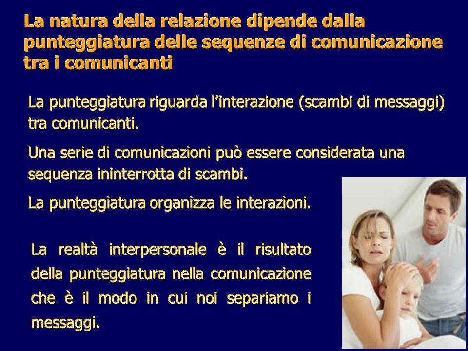 La natura della relazione dipende dalla punteggiatura delle sequenze di comunicazione tra i comunicanti
