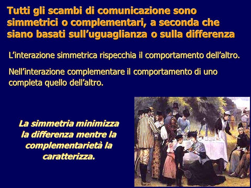 Tutti gli scambi di comunicazione sono simmetrici o complementari, a seconda che siano basati sull'uguaglianza o sulla differenza