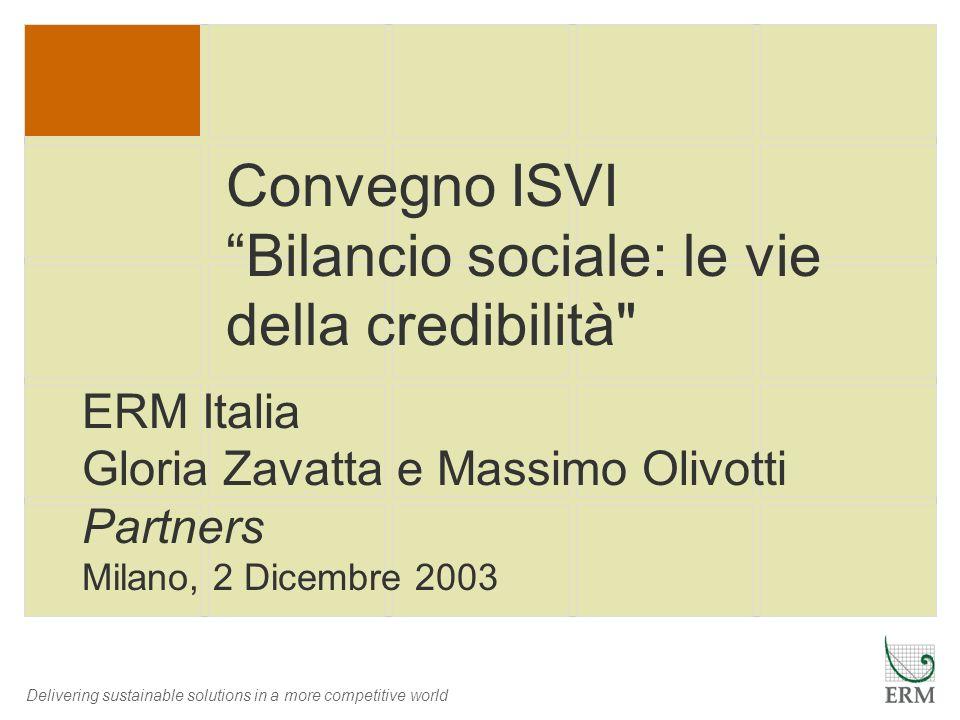 Convegno ISVI Bilancio sociale: le vie della credibilità