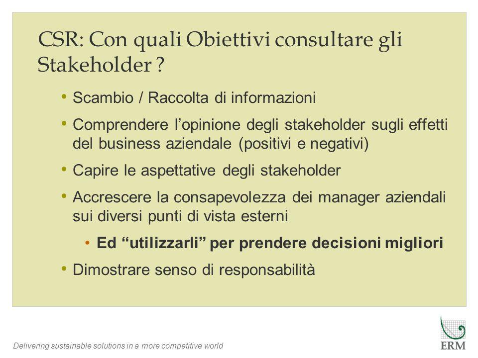 CSR: Con quali Obiettivi consultare gli Stakeholder