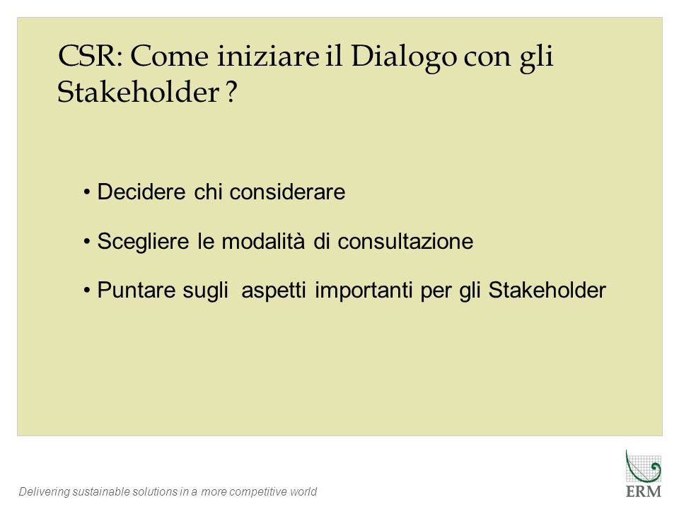 CSR: Come iniziare il Dialogo con gli Stakeholder