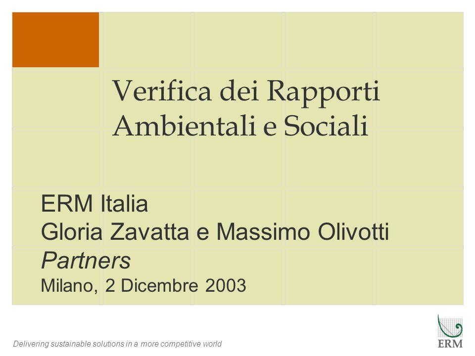 Verifica dei Rapporti Ambientali e Sociali