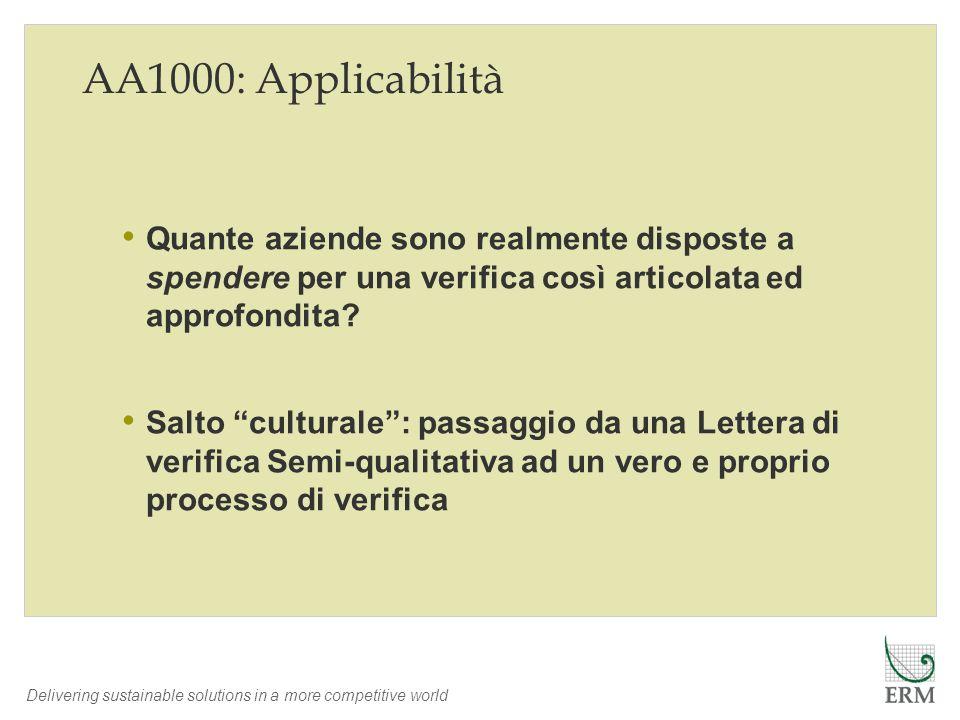 AA1000: Applicabilità Quante aziende sono realmente disposte a spendere per una verifica così articolata ed approfondita