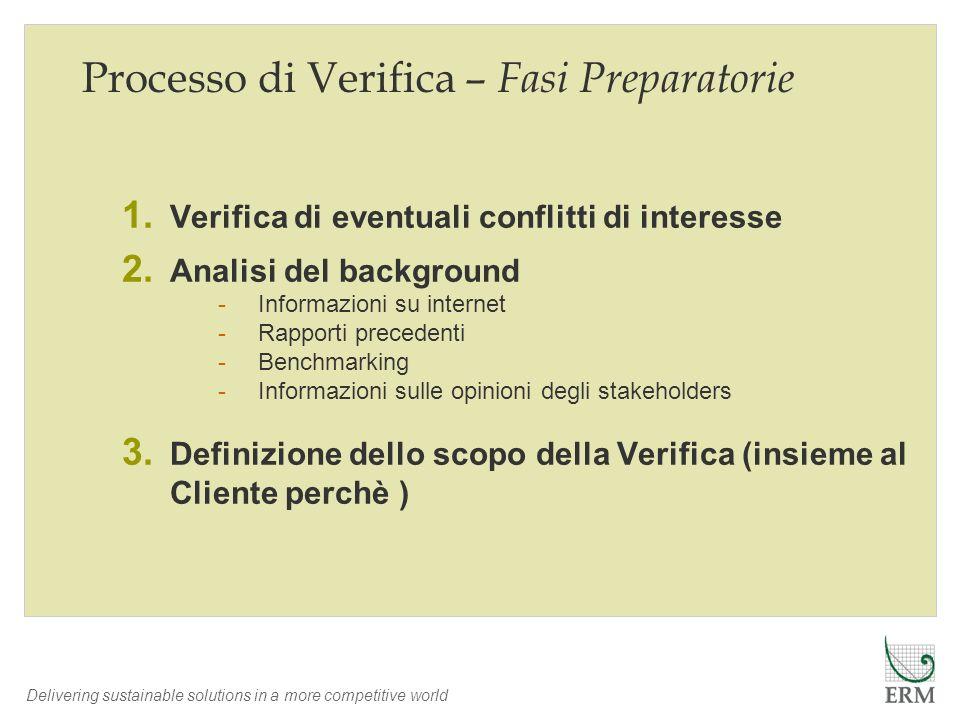 Processo di Verifica – Fasi Preparatorie