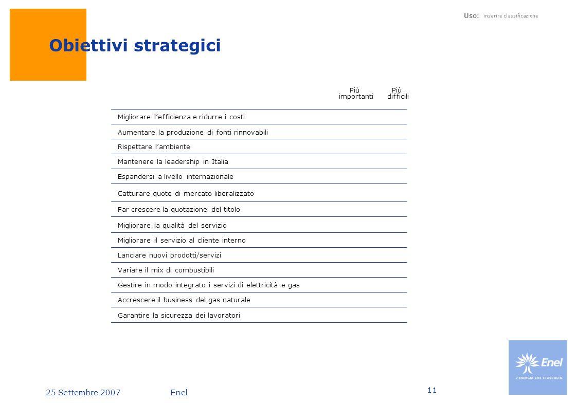 Obiettivi strategici Più importanti Più difficili