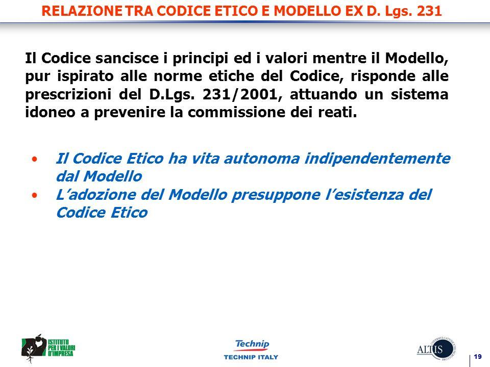 RELAZIONE TRA CODICE ETICO E MODELLO EX D. Lgs. 231