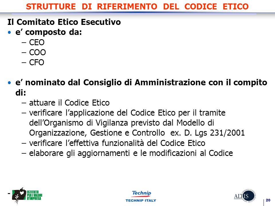 STRUTTURE DI RIFERIMENTO DEL CODICE ETICO
