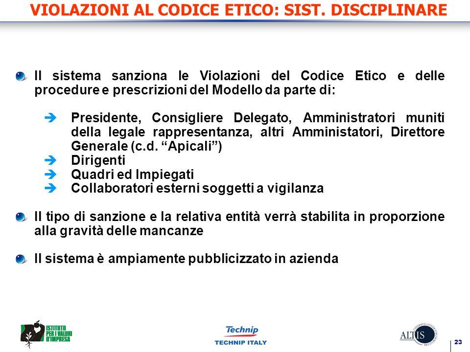 VIOLAZIONI AL CODICE ETICO: SIST. DISCIPLINARE