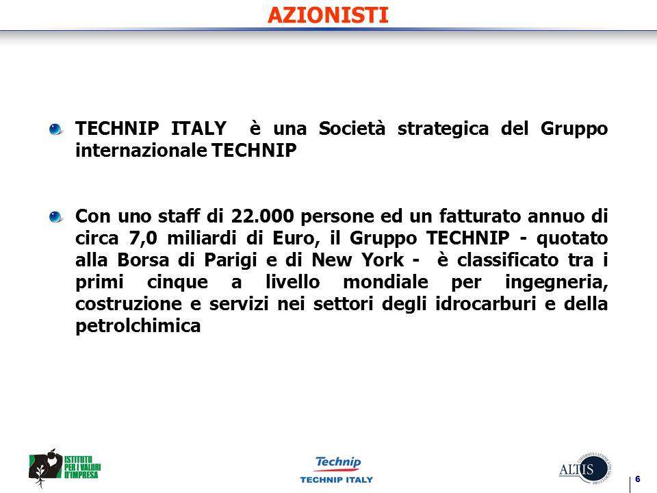AZIONISTI TECHNIP ITALY è una Società strategica del Gruppo internazionale TECHNIP.
