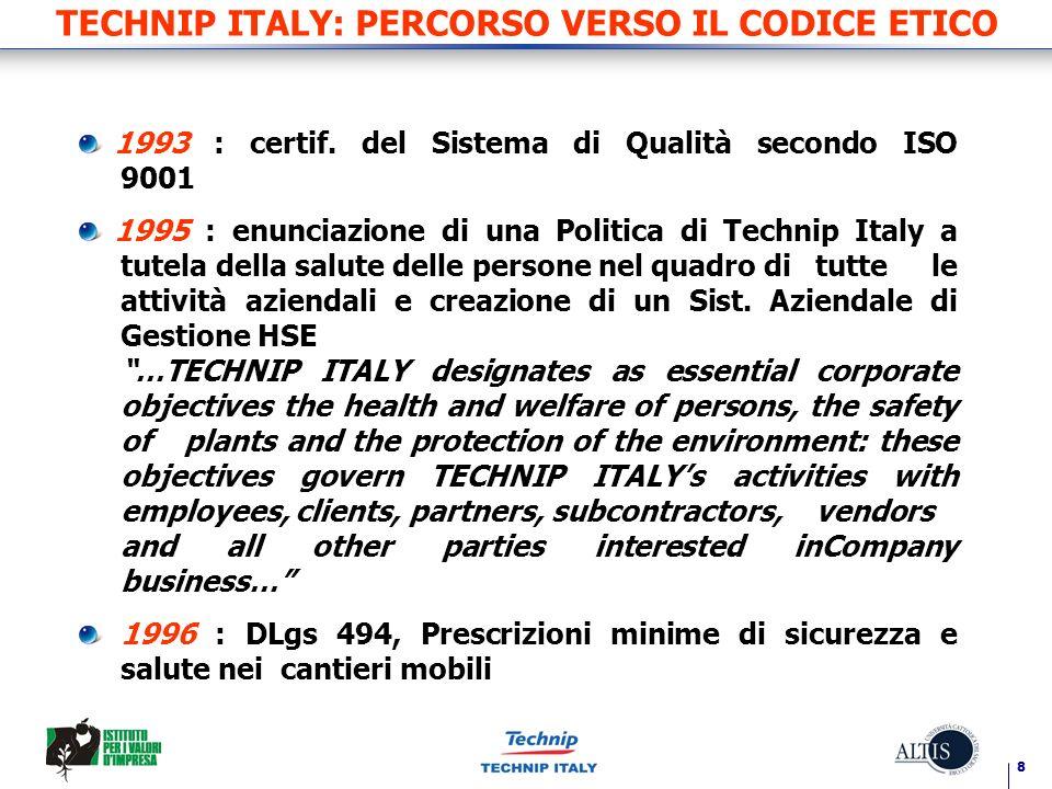 TECHNIP ITALY: PERCORSO VERSO IL CODICE ETICO