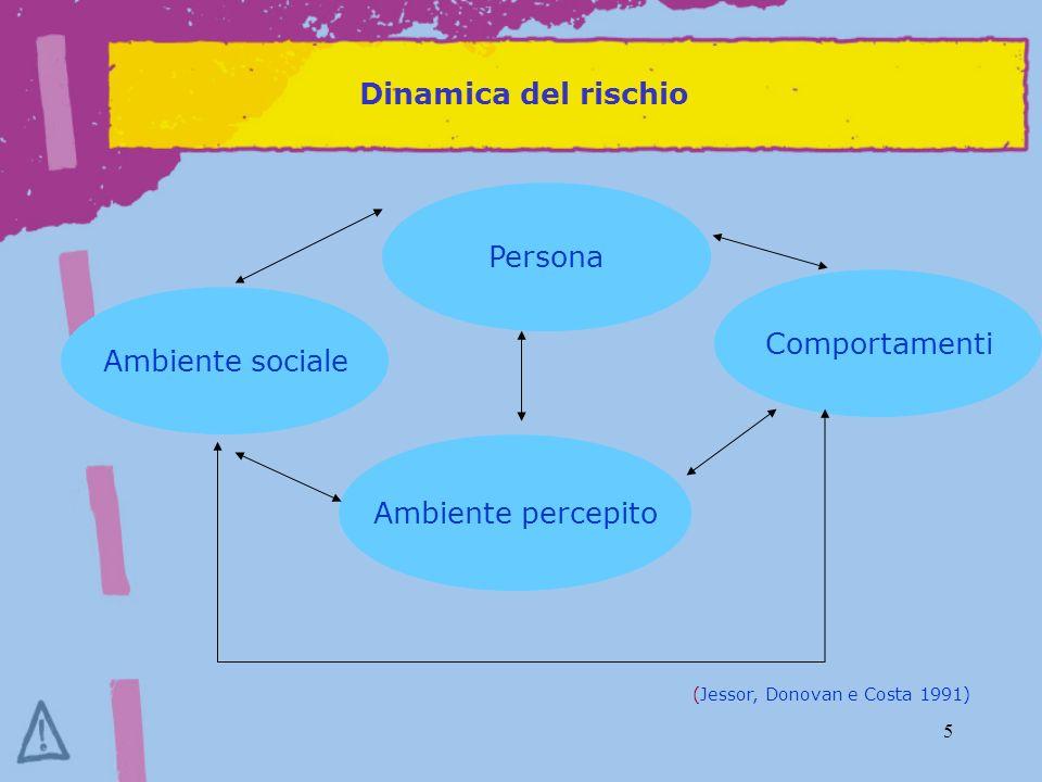 Dinamica del rischio Persona Comportamenti Ambiente sociale