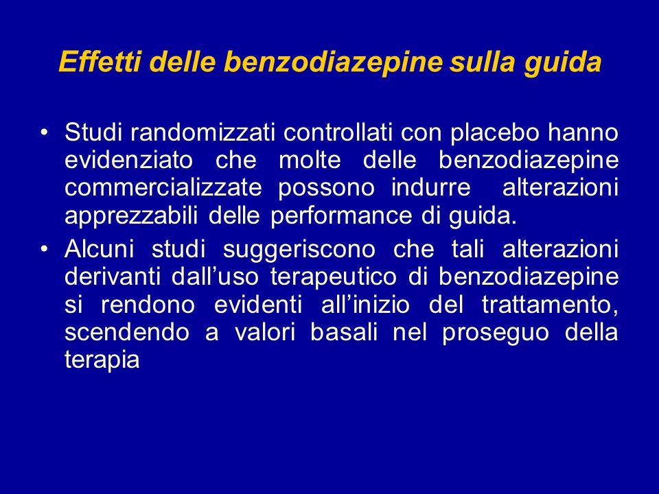 Effetti delle benzodiazepine sulla guida