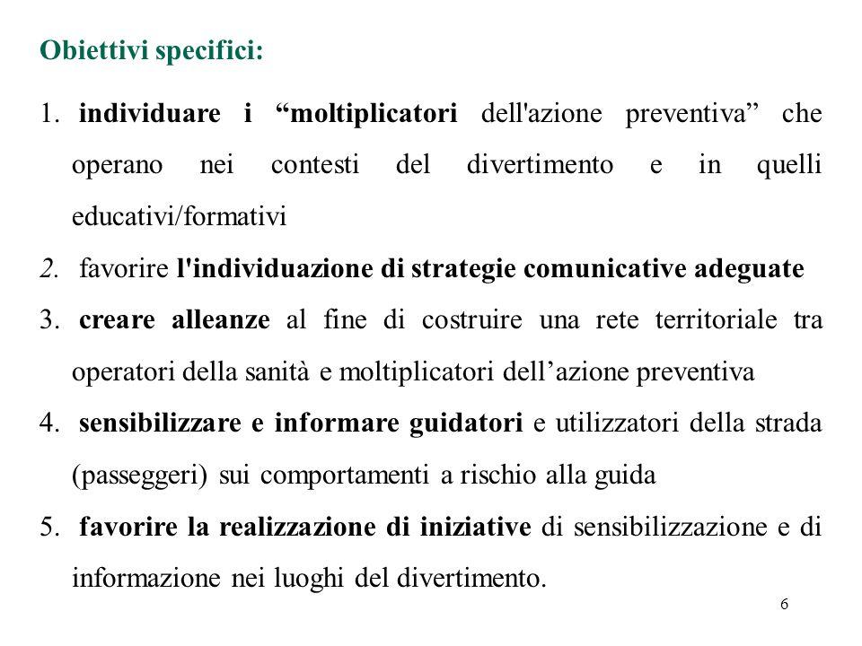 Obiettivi specifici: individuare i moltiplicatori dell azione preventiva che operano nei contesti del divertimento e in quelli educativi/formativi.