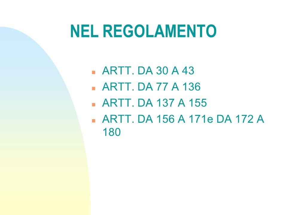 NEL REGOLAMENTO ARTT. DA 30 A 43 ARTT. DA 77 A 136 ARTT. DA 137 A 155