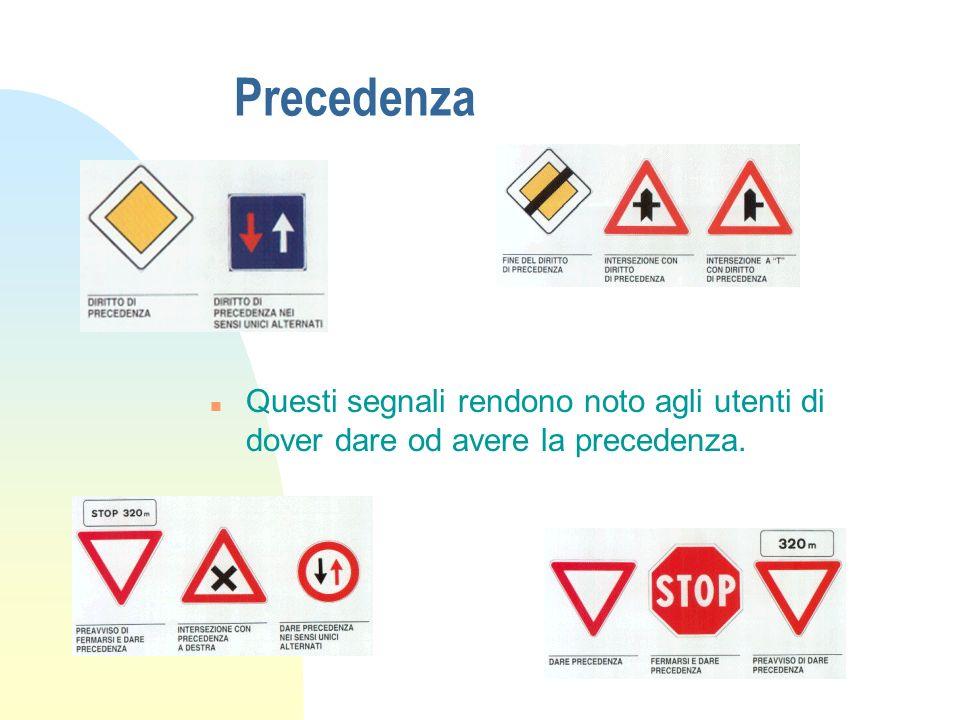 Precedenza Questi segnali rendono noto agli utenti di dover dare od avere la precedenza.