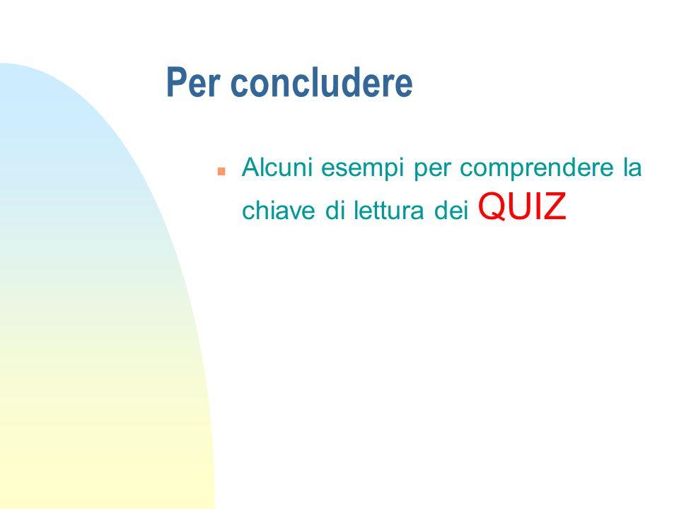 Per concludere Alcuni esempi per comprendere la chiave di lettura dei QUIZ