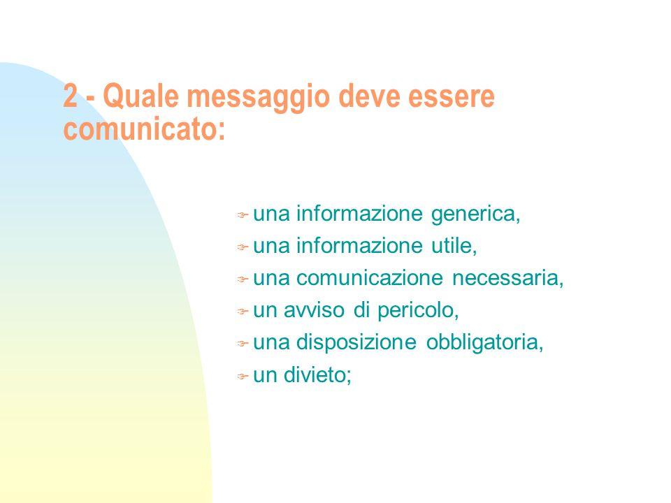 2 - Quale messaggio deve essere comunicato: