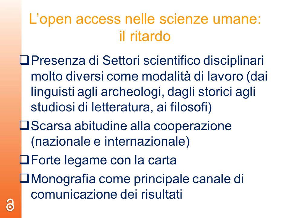 L'open access nelle scienze umane: il ritardo