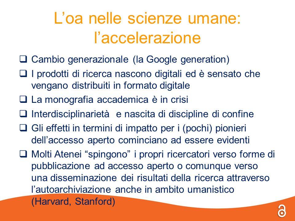 L'oa nelle scienze umane: l'accelerazione