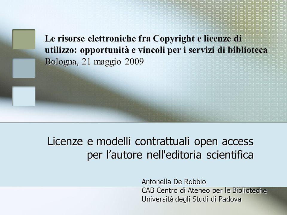 Le risorse elettroniche fra Copyright e licenze di utilizzo: opportunità e vincoli per i servizi di biblioteca