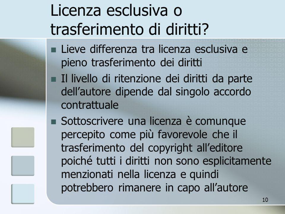 Licenza esclusiva o trasferimento di diritti