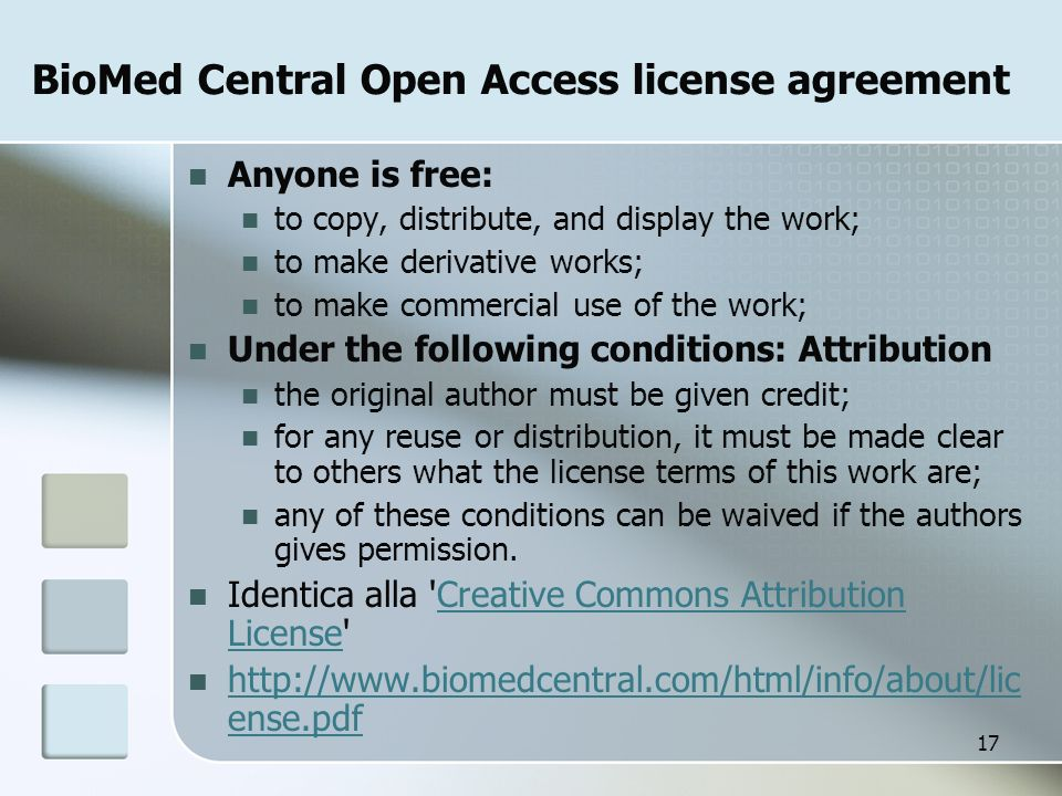 BioMed Central Open Access license agreement