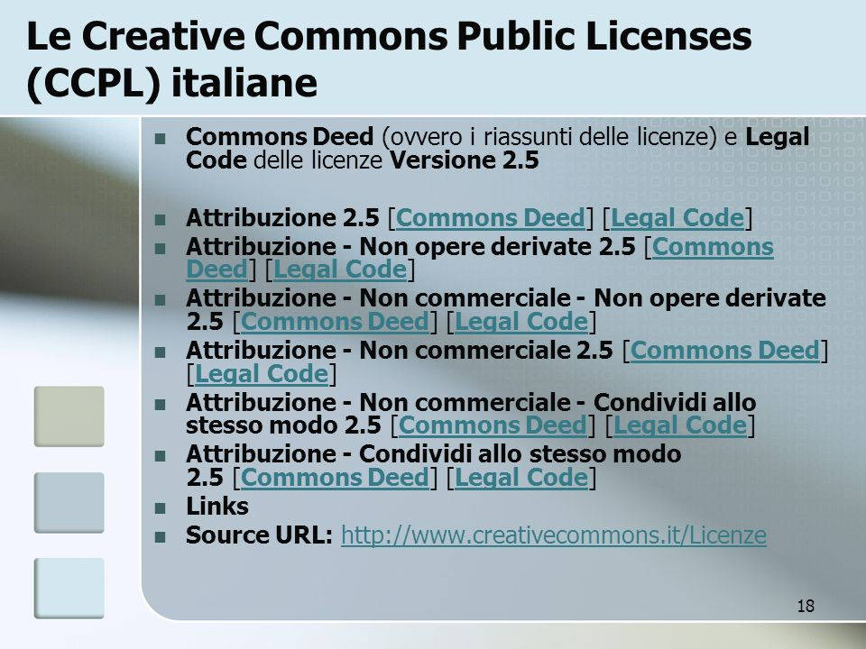 Le Creative Commons Public Licenses (CCPL) italiane