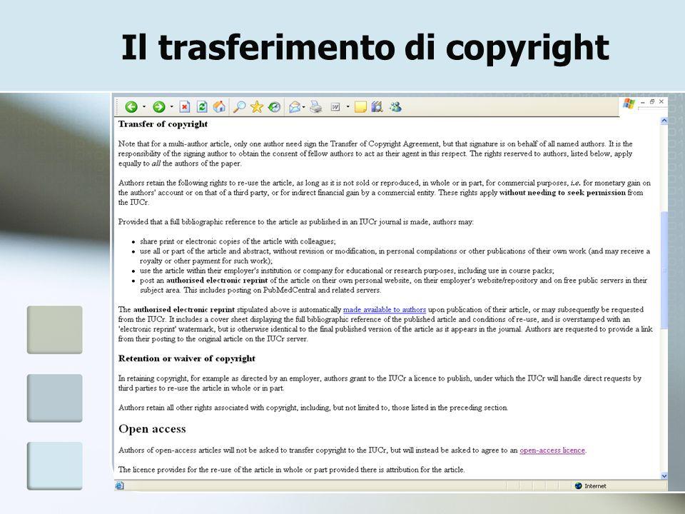 Il trasferimento di copyright