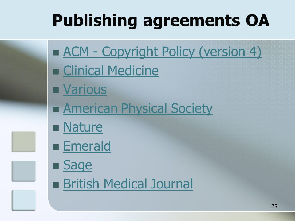 Publishing agreements OA