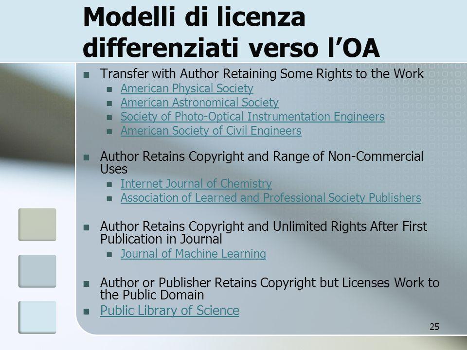 Modelli di licenza differenziati verso l'OA